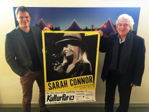 Organisationsleiter Jens von Heyden und Festivalleiter Wolfgang Suttner freuen sich, Sarah Connor auf dem Giller präsentieren zu können.